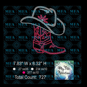 Cowboy Boot and Hat Rhinestone Digital Download File - My File Addiction