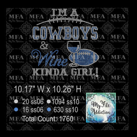 Cowboys and Wine Rhinestone Digital Download File - My File Addiction