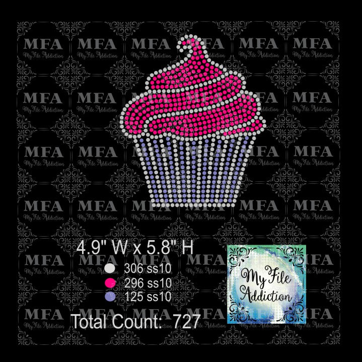 Cupcake Swirl 3 Birthday Rhinestone Digital Download File - My File Addiction