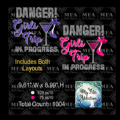 Danger Girls Trip In Progress Rhinestone & Vector Digital Download File - My File Addiction