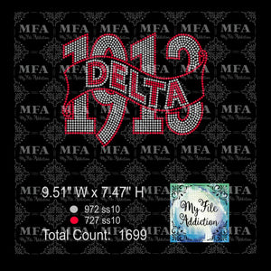 Delta 1913 2 Rhinestone Digital Download File - My File Addiction