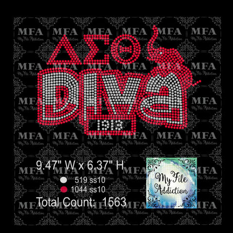 Delta Diva Rhinestone Digital Download File - My File Addiction