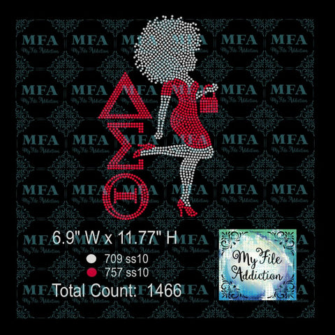 Delta Afro Woman in Dress Rhinestone Digital Download File - My File Addiction
