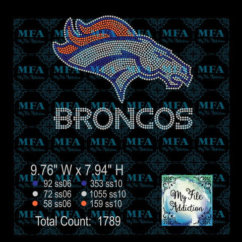 Broncos Rhinestone Digital Download File - My File Addiction