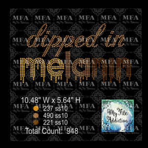Dipped in Melanin Rhinestone Digital Download File