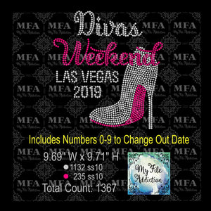 Divas Weekend Las Vegas Stiletto Rhinestone Digital Download File - My File Addiction