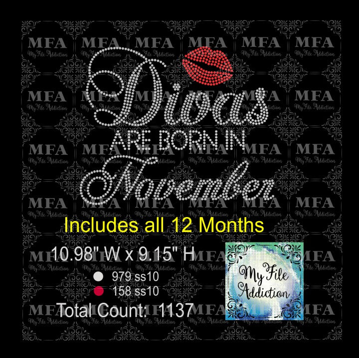 Divas are born in Rhinestone Digital Download File - My File Addiction