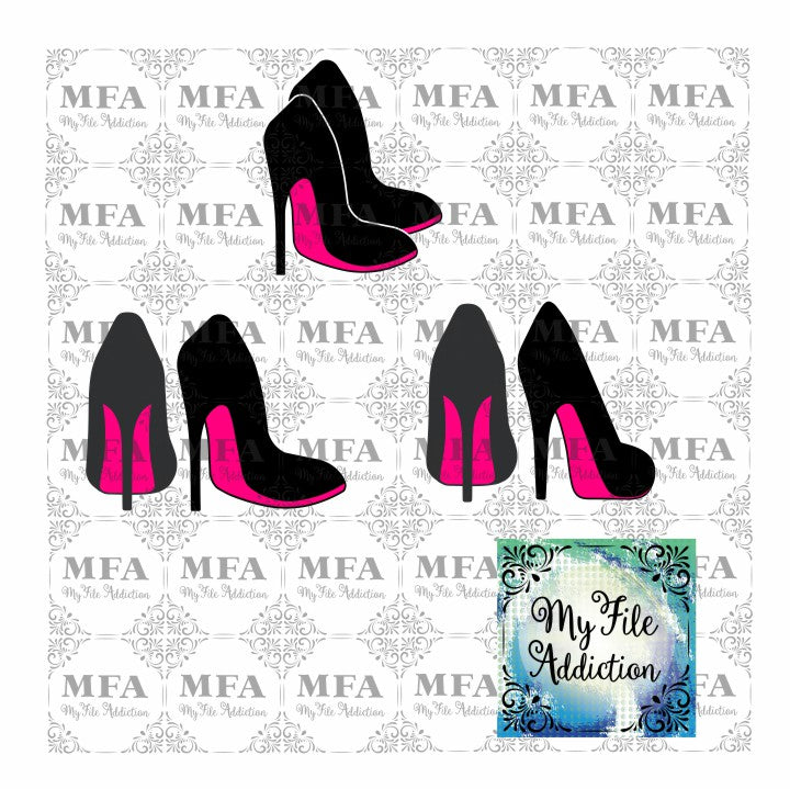 Double High Heel Stiletto Shoe Vector Digital Download File - My File Addiction