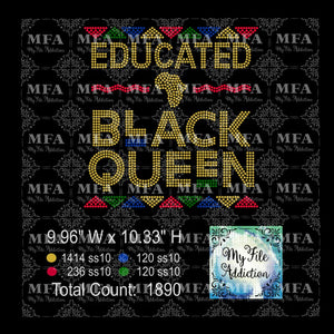 Educated Black Queen 2 Rhinestone Digital Download File - My File Addiction
