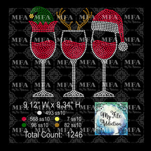 Elf Reindeer Santa Hat Wine Glass 2 Rhinestone Digital Download File - My File Addiction