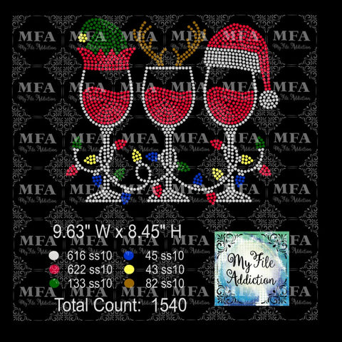 Elf Reindeer Santa Hat Wine Glass 1 Rhinestone Digital Download File - My File Addiction