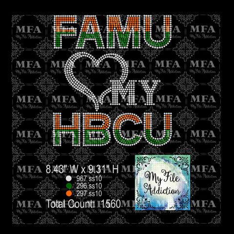 FAMU Love My HBCU Rhinestone Digital Download File - My File Addiction