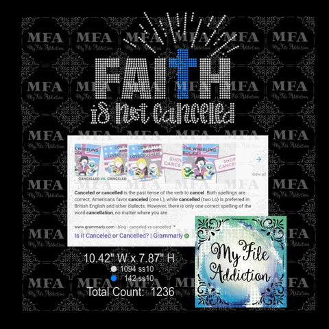 Faith Is Not Canceled Rhinestone Digital Download File