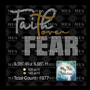 Faith Over Fear Rhinestone Digital Download File - My File Addiction