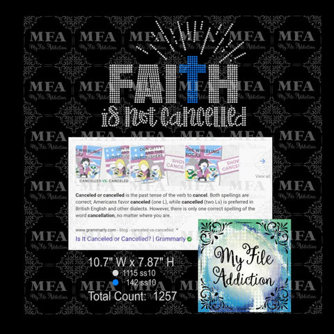 Faith Is Not Cancelled Rhinestone Digital Download File