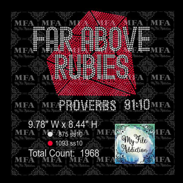 Far Above Rubies Proverbs Rhinestone Digital Download File - My File Addiction