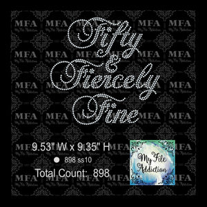Fifty & Fiercely Fine 50 Birthday Rhinestone Digital Download File