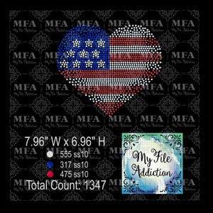 Heart Flag Scatter 2 Rhinestone Digital Download File