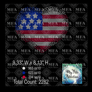 Heart Flag Scatter Rhinestone Digital Download File - My File Addiction