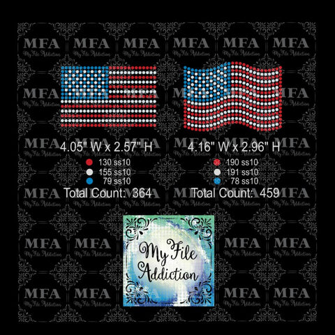 Flags Small Rhinestone Digital Download File