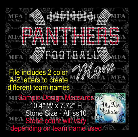 Football Mom 2 with Letters Rhinestone Digital Download File - My File Addiction