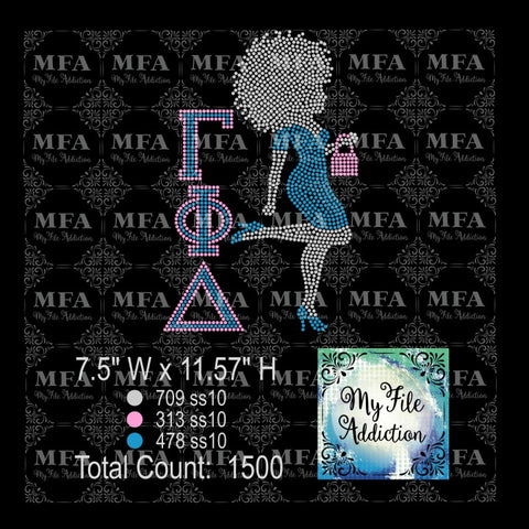 Gamma Phi Delta Afro Woman in Dress Rhinestone Digital Download File - My File Addiction