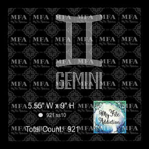 Gemini 2 Zodiac Sign Rhinestone Digital Download File