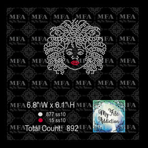 Girl with Curly Afro Rhinestone Digital Download File - My File Addiction