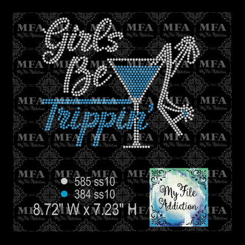 Girls Be Trippin Martini Glass Shoe Rhinestone Digital Download File - My File Addiction