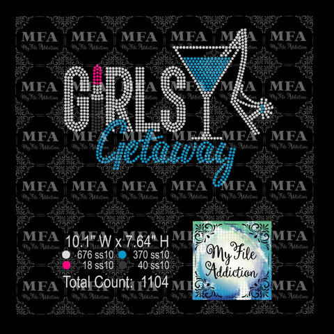 Girls Getaway Lipstick 1 Martini Glass Shoe Rhinestone Digital Download File - My File Addiction