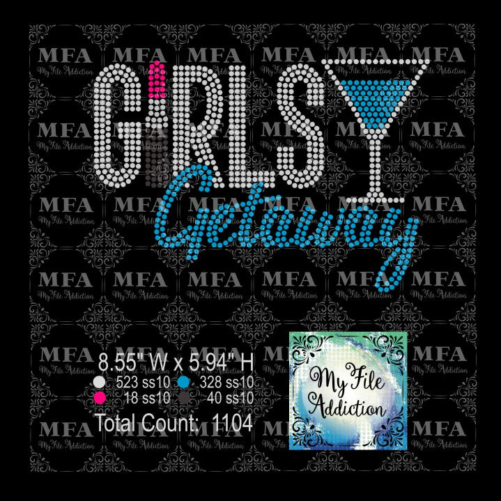 Girls Getaway Lipstick 2 Martini Glass Rhinestone Digital Download File - My File Addiction