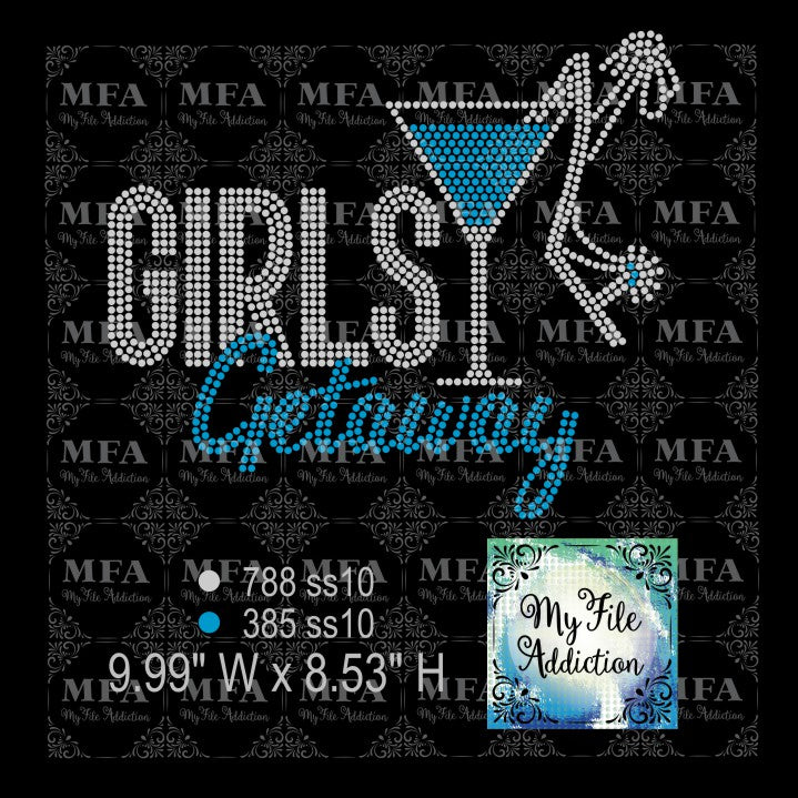 Girls Getaway Martini Glass Shoe Rhinestone Digital Download File - My File Addiction