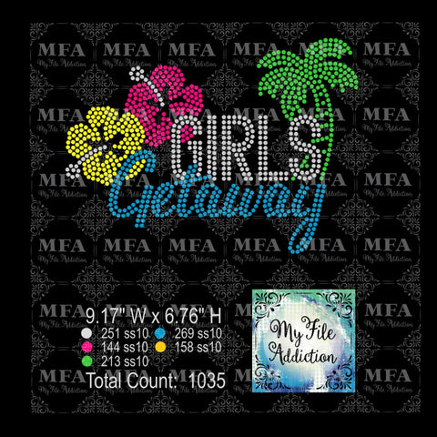 Girls Getaway Tropical 1 Rhinestone Digital Download File - My File Addiction