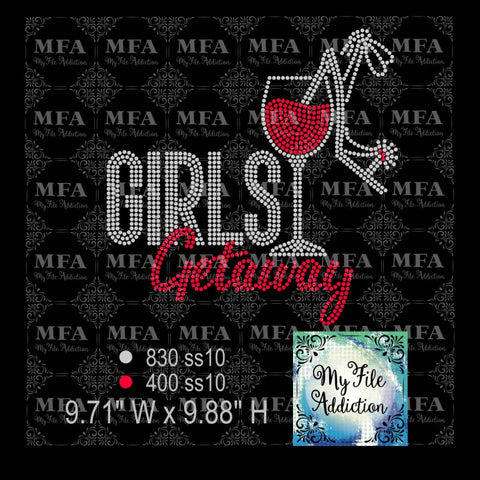 Girls Getaway Wine Glass Shoe Rhinestone Digital Download File - My File Addiction