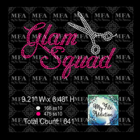 Glam Squad with Scissors Rhinestone Digital Download File - My File Addiction