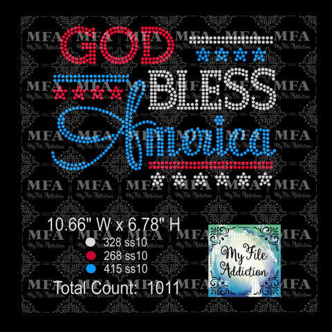 God Bless America Rhinestone Digital Download File - My File Addiction
