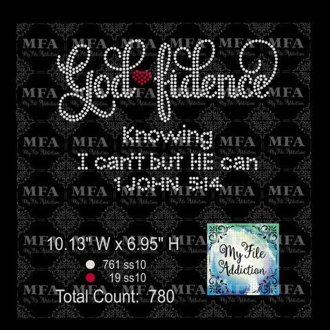 Godfidence God fidence 2 Rhinestone Rhinestone Digital Download File
