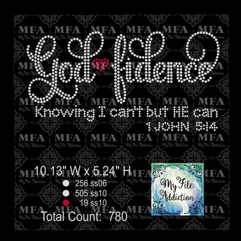Godfidence God fidence Rhinestone Rhinestone Digital Download File