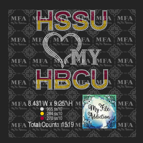HSSU Love My HBCU Rhinestone Digital Download File - My File Addiction