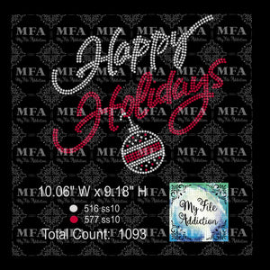 Happy Holidays with Bulb Rhinestone Digital Download File - My File Addiction