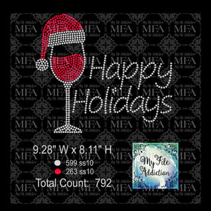 Happy Holidays Wine Glass Rhinestone Digital Download File - My File Addiction