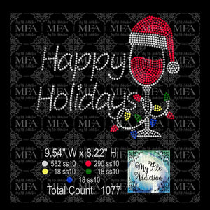 Happy Holidays Wine Glass Lights Rhinestone Digital Download File - My File Addiction
