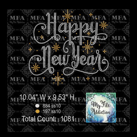 Happy New Year 2 Rhinestone Digital Download File - My File Addiction