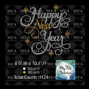 Happy New Year Rhinestone Digital Download File - My File Addiction