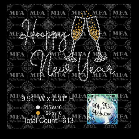 Happy New Year Champagne Rhinestone Digital Download File - My File Addiction