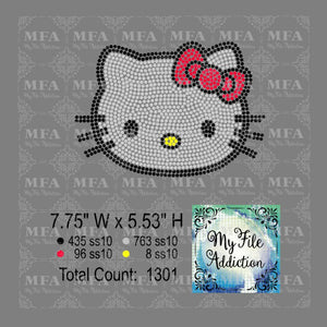 Hello Kitty with Bow Rhinestone Digital Download File