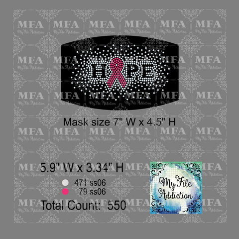 Hope with Ribbon Scatter Small Cancer Rhinestone Digital Download File