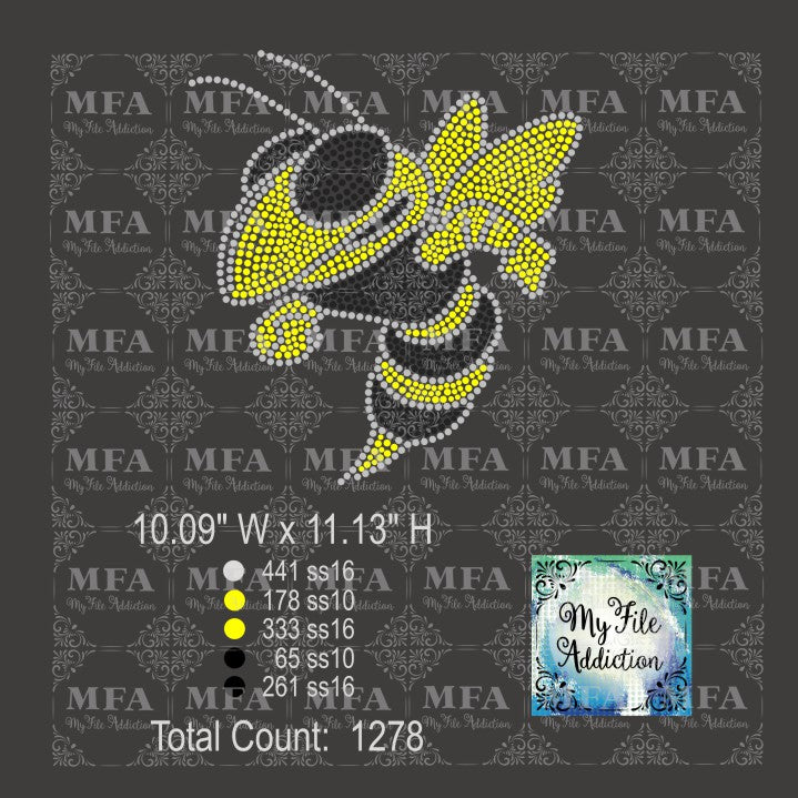 Hornet Oversized Mascot Rhinestone Digital Download File - My File Addiction