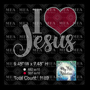 I Love Jesus Rhinestone Digital Download File