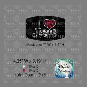 I Love Jesus Small Rhinestone Digital Download File